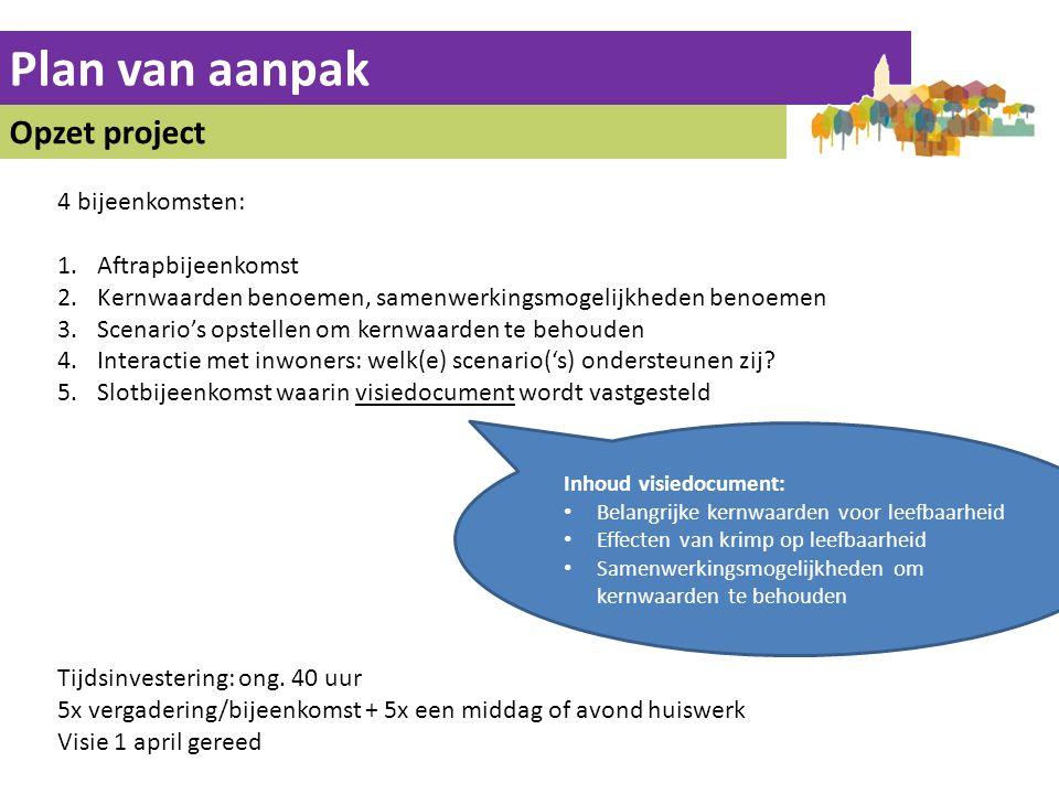 Plan van aanpak Opzet project 4 bijeenkomsten: 1.Aftrapbijeenkomst 2.Kernwaarden benoemen, samenwerkingsmogelijkheden benoemen 3.Scenario's opstellen om kernwaarden te behouden 4.Interactie met inwoners: welk(e) scenario('s) ondersteunen zij.