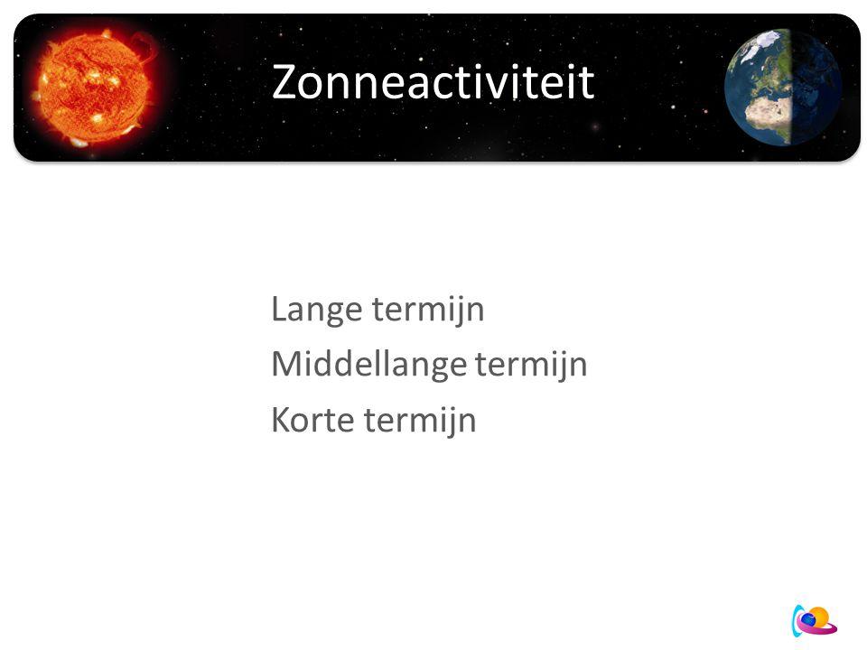 Zonneactiviteit Lange termijn Middellange termijn Korte termijn