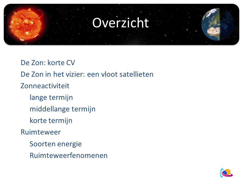Overzicht De Zon: korte CV De Zon in het vizier: een vloot satellieten Zonneactiviteit lange termijn middellange termijn korte termijn Ruimteweer Soorten energie Ruimteweerfenomenen