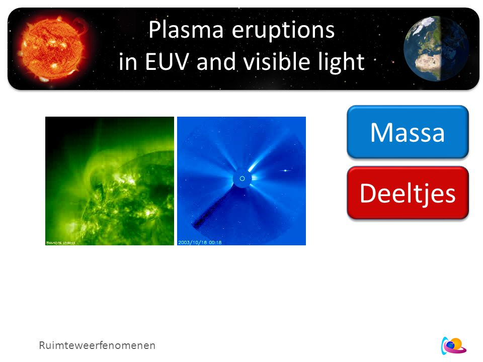 Plasma eruptions in EUV and visible light Ruimteweerfenomenen Massa Deeltjes