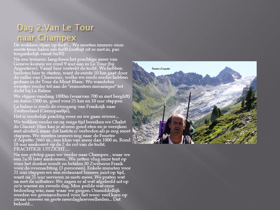 Dag 2:Van Le Tour naar Champex De wekkers staan op 4u45...
