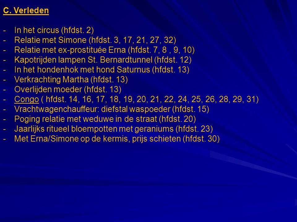 C. Verleden -In het circus (hfdst. 2) -Relatie met Simone (hfdst. 3, 17, 21, 27, 32) -Relatie met ex-prostituée Erna (hfdst. 7, 8, 9, 10) -Kapotrijden