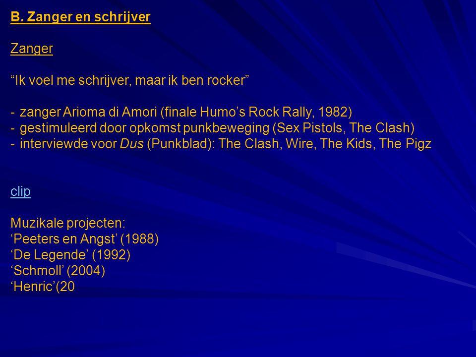 """B. Zanger en schrijver Zanger """"Ik voel me schrijver, maar ik ben rocker"""" -zanger Arioma di Amori (finale Humo's Rock Rally, 1982) -gestimuleerd door o"""