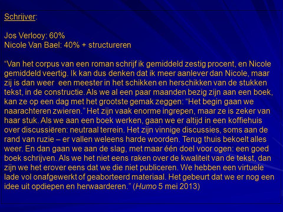 Schrijver: Jos Verlooy: 60% Nicole Van Bael: 40% + structureren Van het corpus van een roman schrijf ik gemiddeld zestig procent, en Nicole gemiddeld veertig.