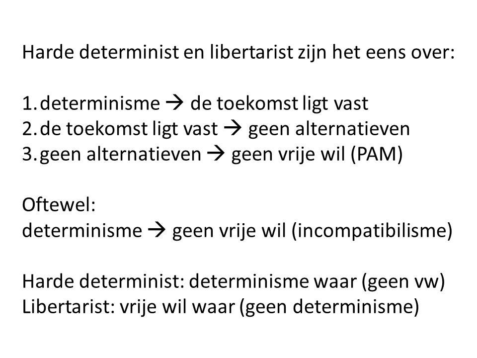 Harde determinist en libertarist zijn het eens over: 1.determinisme  de toekomst ligt vast 2.de toekomst ligt vast  geen alternatieven 3.geen altern