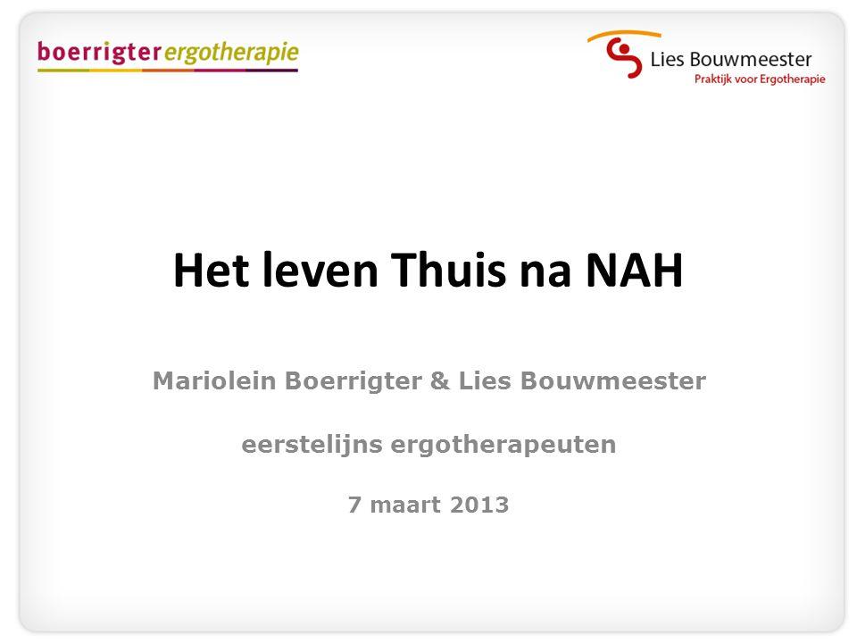 Het leven Thuis na NAH Mariolein Boerrigter & Lies Bouwmeester eerstelijns ergotherapeuten 7 maart 2013