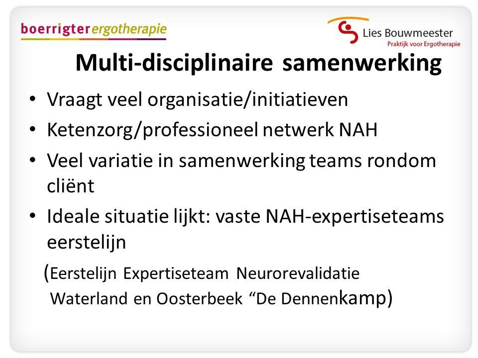 Multi-disciplinaire samenwerking • Vraagt veel organisatie/initiatieven • Ketenzorg/professioneel netwerk NAH • Veel variatie in samenwerking teams ro