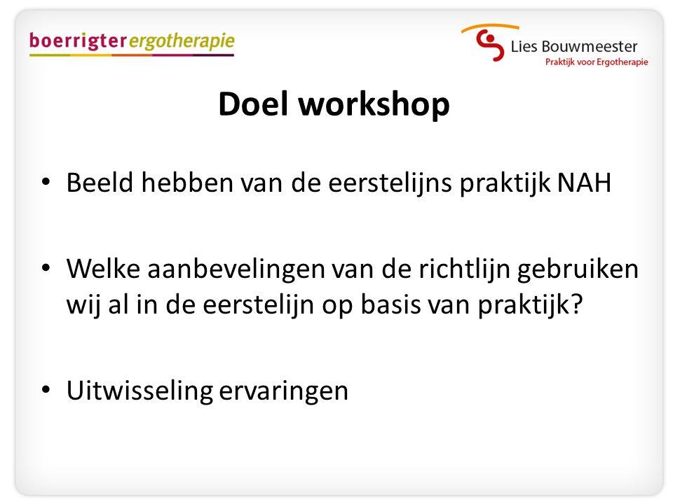 Doel workshop • Beeld hebben van de eerstelijns praktijk NAH • Welke aanbevelingen van de richtlijn gebruiken wij al in de eerstelijn op basis van pra