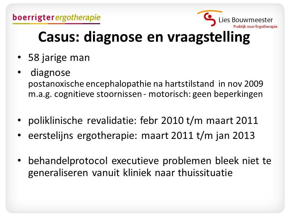 Casus: diagnose en vraagstelling • 58 jarige man • diagnose postanoxische encephalopathie na hartstilstand in nov 2009 m.a.g. cognitieve stoornissen -