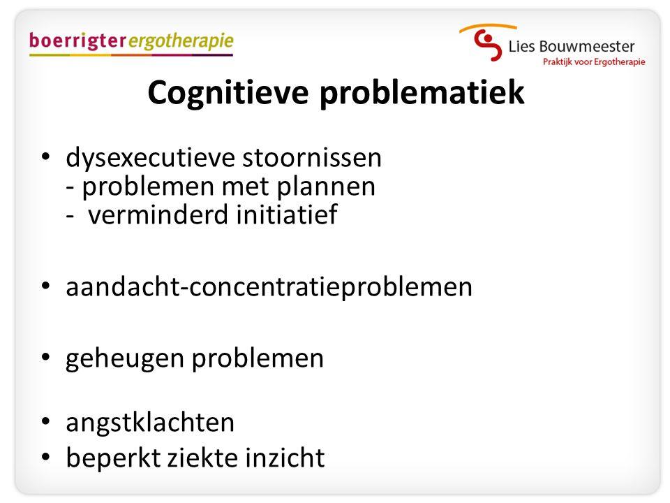Cognitieve problematiek • dysexecutieve stoornissen - problemen met plannen - verminderd initiatief • aandacht-concentratieproblemen • geheugen proble