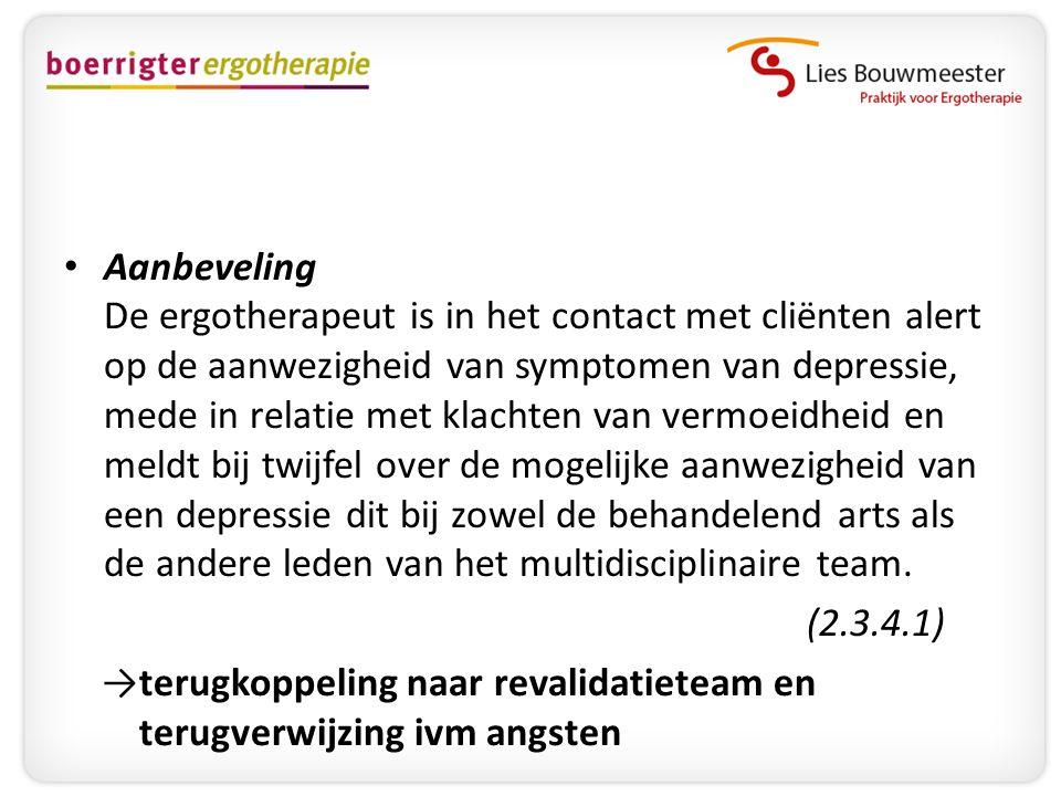 • Aanbeveling De ergotherapeut is in het contact met cliënten alert op de aanwezigheid van symptomen van depressie, mede in relatie met klachten van v
