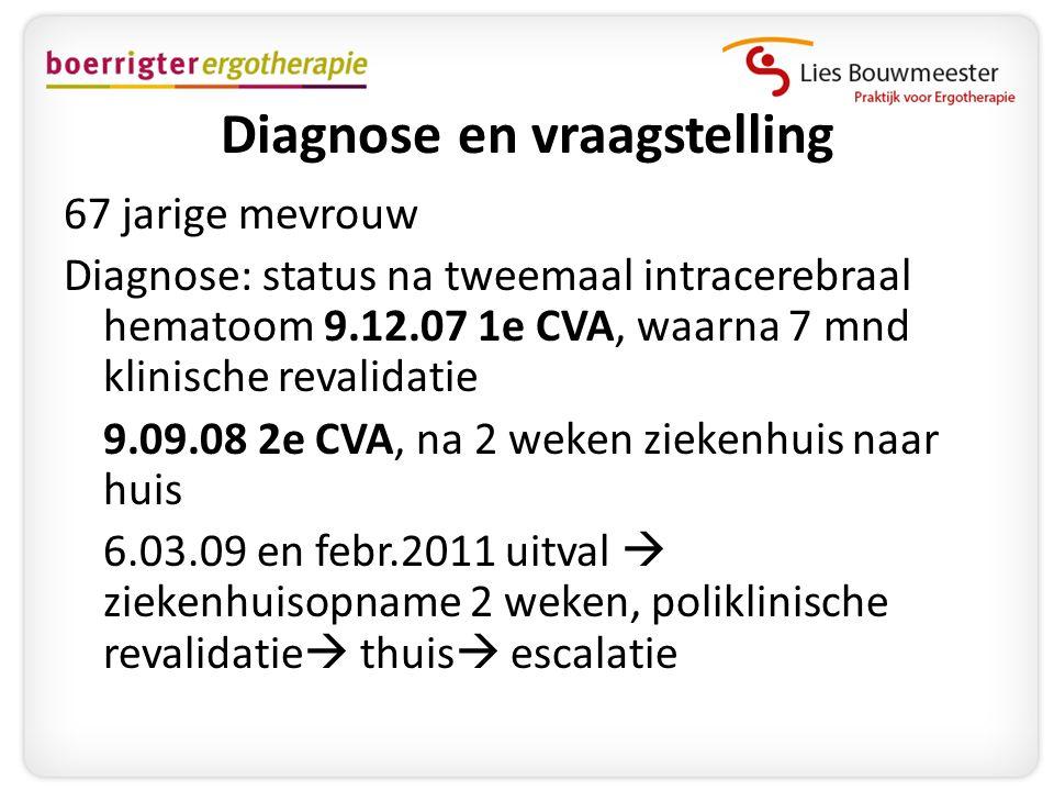 Diagnose en vraagstelling 67 jarige mevrouw Diagnose: status na tweemaal intracerebraal hematoom 9.12.07 1e CVA, waarna 7 mnd klinische revalidatie 9.