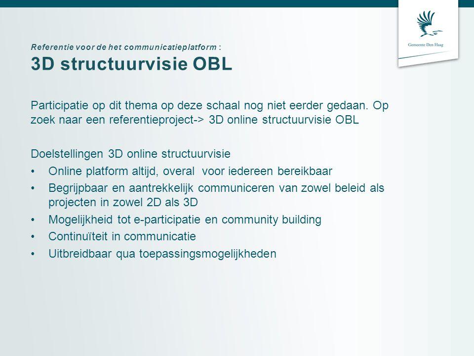 Referentie voor de het communicatieplatform : 3D structuurvisie OBL Participatie op dit thema op deze schaal nog niet eerder gedaan.