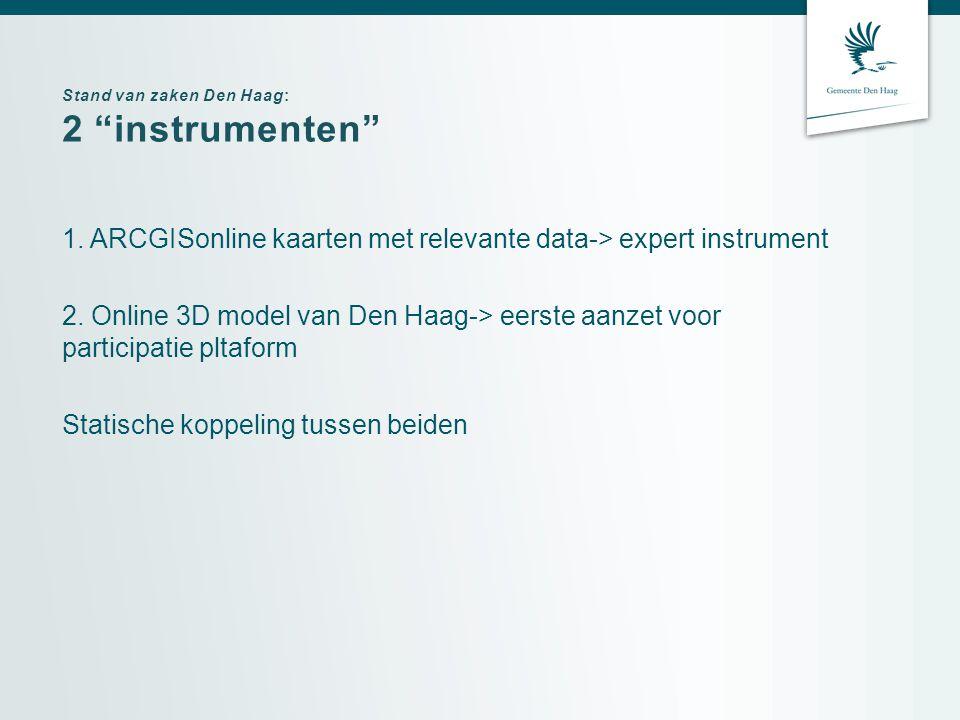 Stand van zaken Den Haag: 2 instrumenten 1.