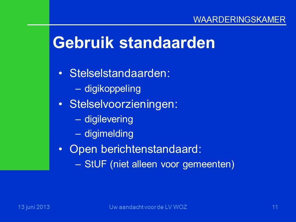 WAARDERINGSKAMER Gebruik standaarden 13 juni 2013Uw aandacht voor de LV WOZ11 •Stelselstandaarden: –digikoppeling •Stelselvoorzieningen: –digilevering