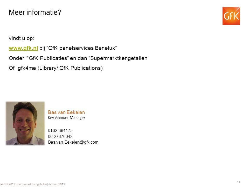 11 © GfK 2013 | Supermarktkengetallen | Januari 2013 0162-384175 Key Account Manager Bas van Eekelen 06-27876642 Bas.van.Eekelen@gfk.com Meer informat