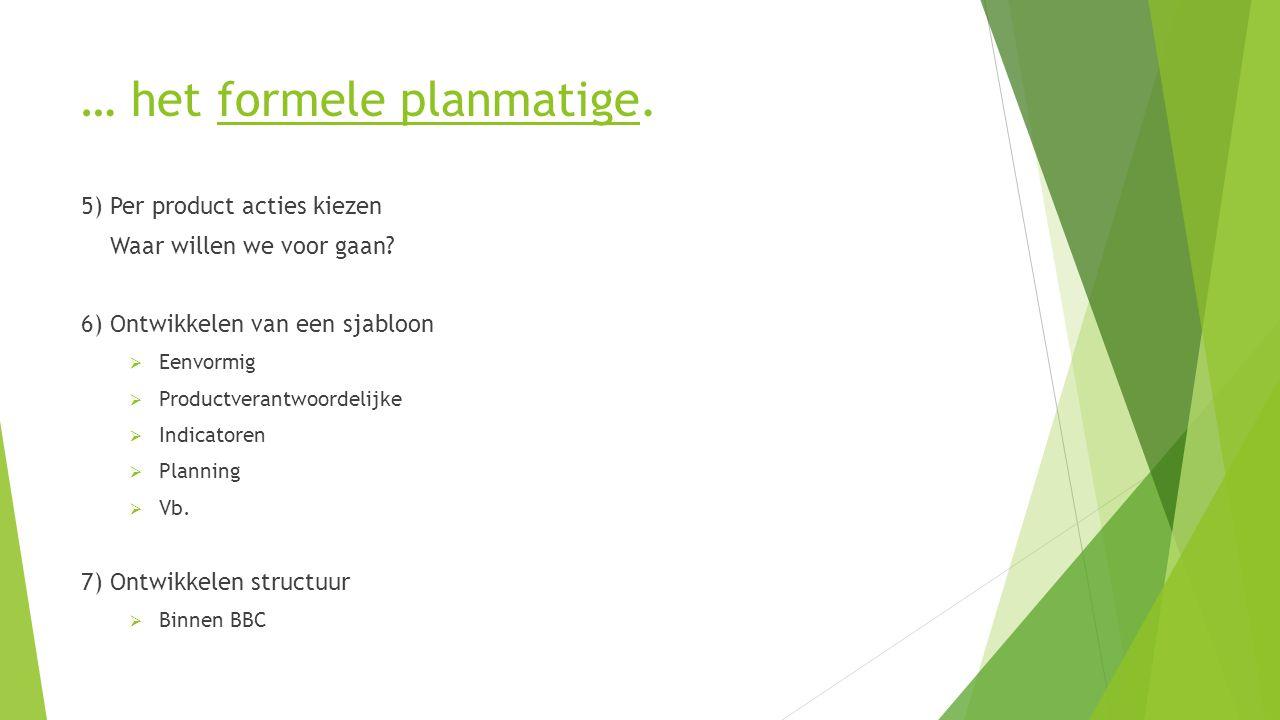 … het formele planmatige. 5) Per product acties kiezen Waar willen we voor gaan.