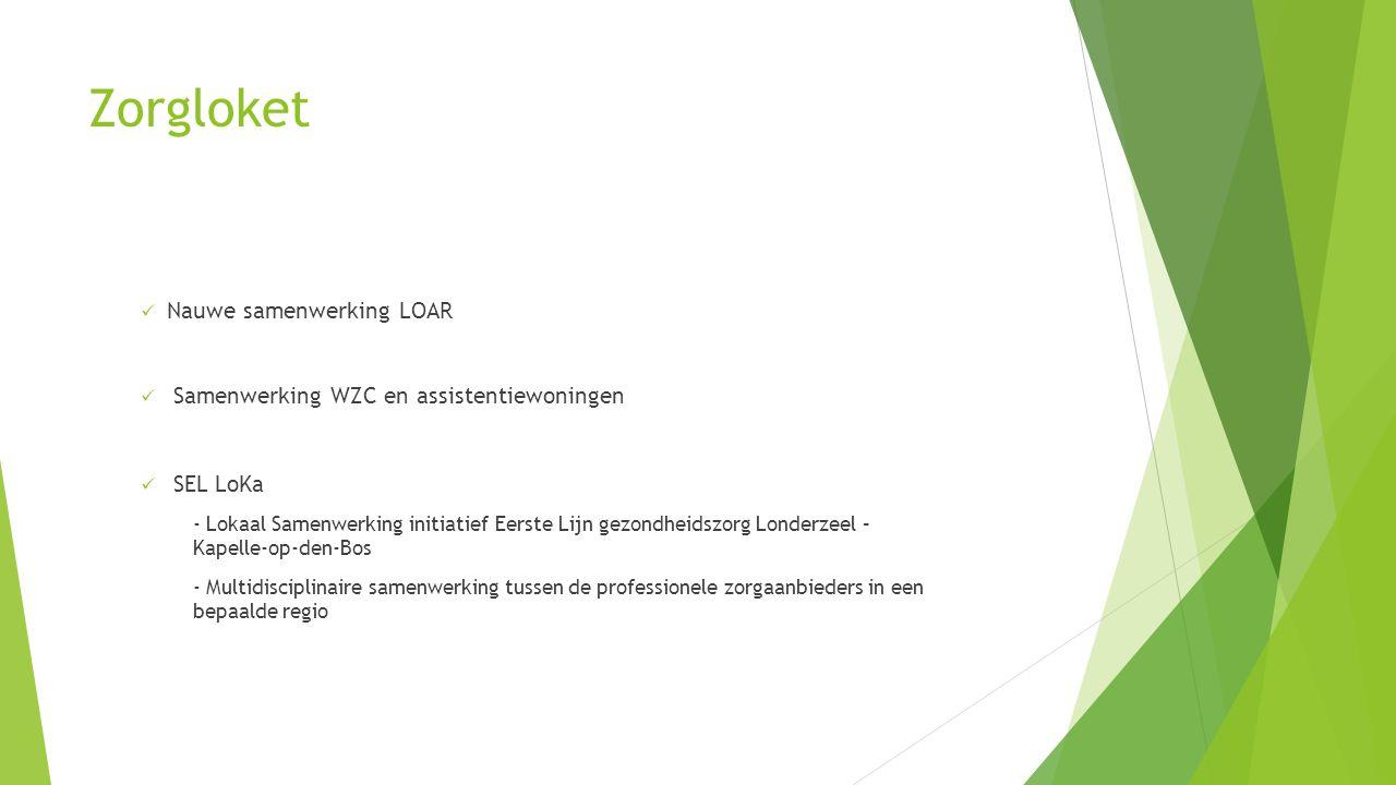 Zorgloket  Nauwe samenwerking LOAR  Samenwerking WZC en assistentiewoningen  SEL LoKa - Lokaal Samenwerking initiatief Eerste Lijn gezondheidszorg Londerzeel – Kapelle-op-den-Bos - Multidisciplinaire samenwerking tussen de professionele zorgaanbieders in een bepaalde regio