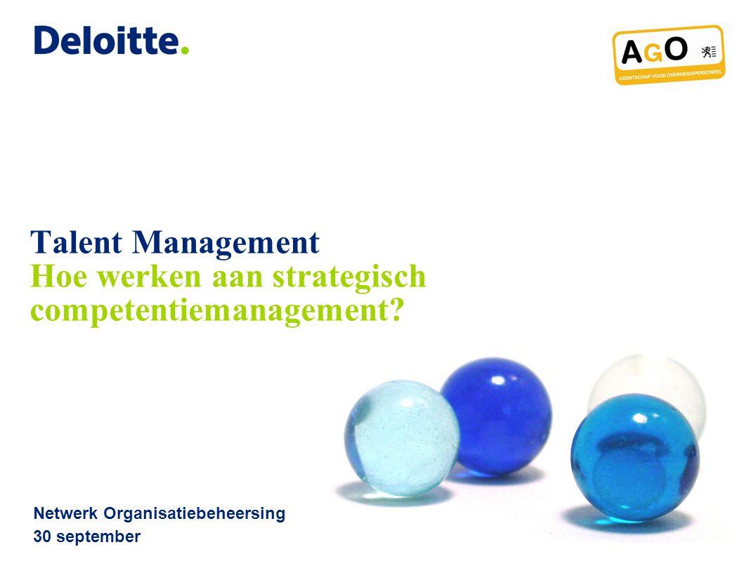 © 2010 Deloitte Belgium Agenda 2Strategisch competentiemanagement 1.Talent uitdagingen 2.Talent oplossingen 3.Strategisch competentiemanagement 4.Conclusie 5.Vragen