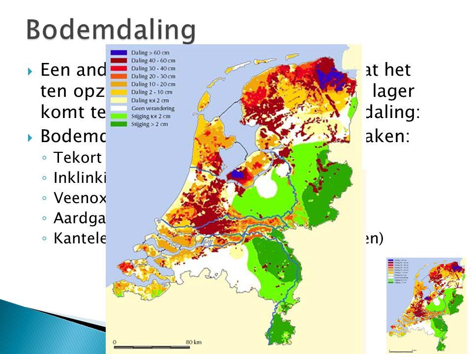  Een ander groot probleem bij NL, is dat het ten opzichte van de zeespiegel steeds lager komt te liggen. Dit komt door bodemdaling:  Bodemdaling hee