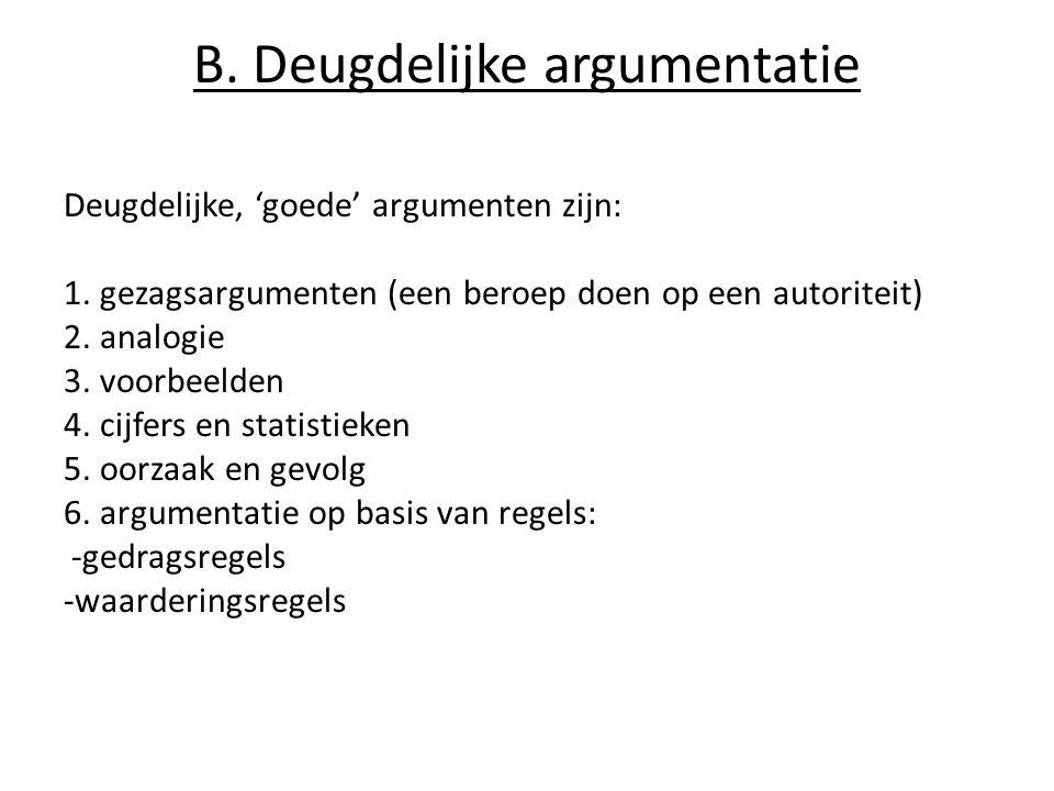B.Deugdelijke argumentatie Deugdelijke, 'goede' argumenten zijn: 1.