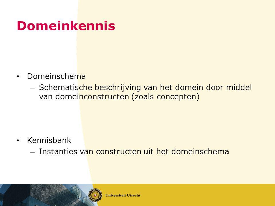 Domeinkennis • Domeinschema – Schematische beschrijving van het domein door middel van domeinconstructen (zoals concepten) • Kennisbank – Instanties van constructen uit het domeinschema