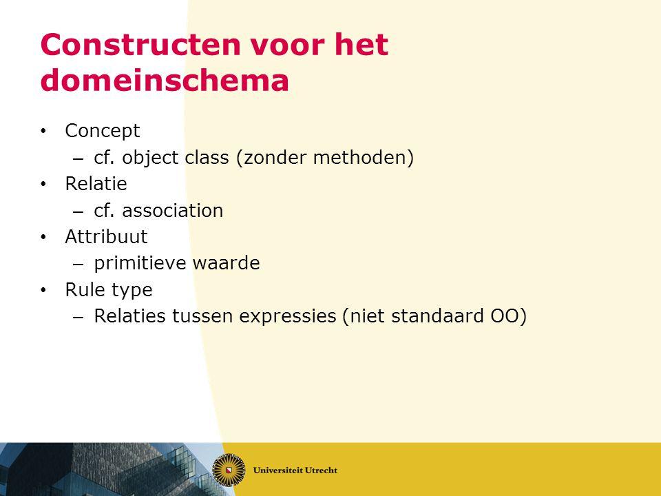Constructen voor het domeinschema • Concept – cf. object class (zonder methoden) • Relatie – cf. association • Attribuut – primitieve waarde • Rule ty