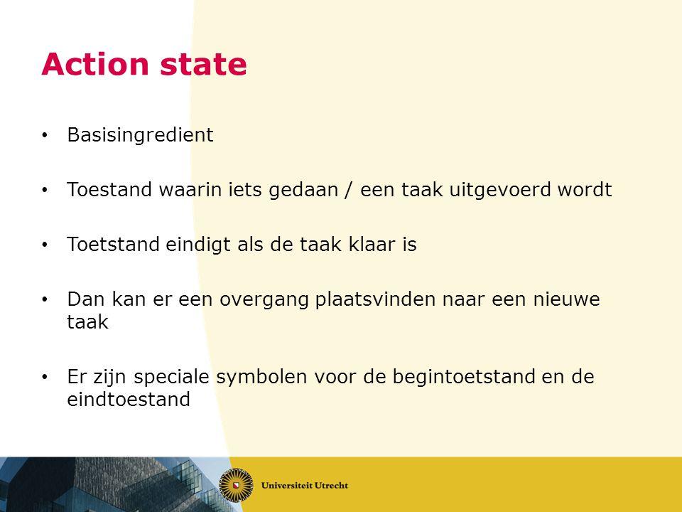 Action state • Basisingredient • Toestand waarin iets gedaan / een taak uitgevoerd wordt • Toetstand eindigt als de taak klaar is • Dan kan er een overgang plaatsvinden naar een nieuwe taak • Er zijn speciale symbolen voor de begintoetstand en de eindtoestand