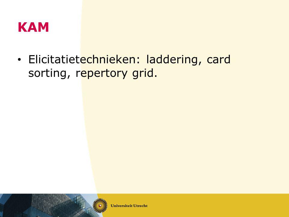 KAM • Elicitatietechnieken: laddering, card sorting, repertory grid.