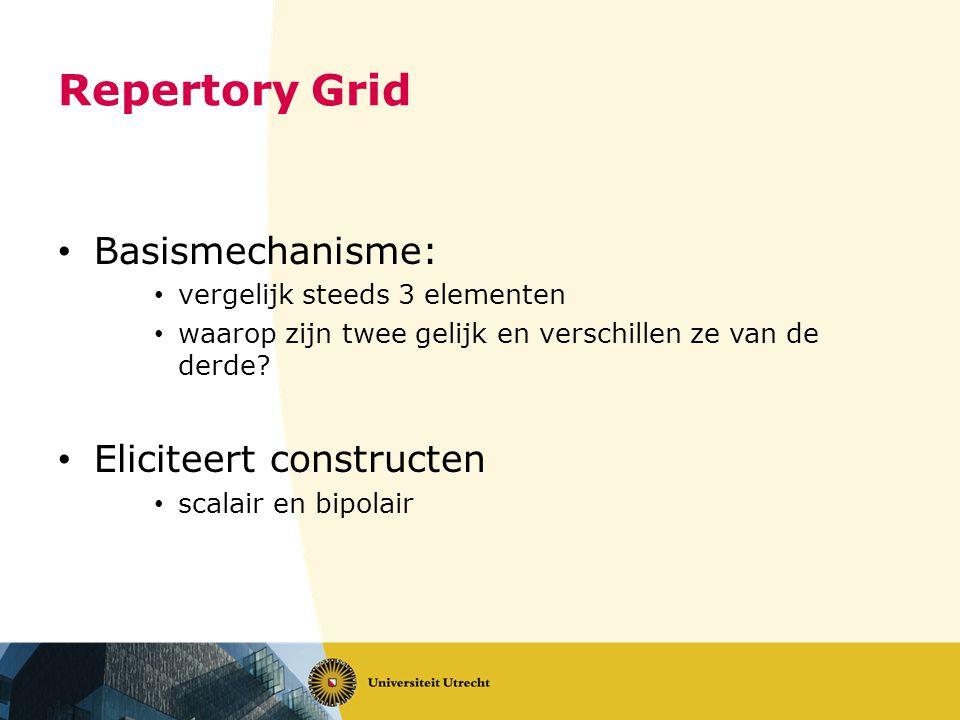 Repertory Grid • Basismechanisme: • vergelijk steeds 3 elementen • waarop zijn twee gelijk en verschillen ze van de derde? • Eliciteert constructen •
