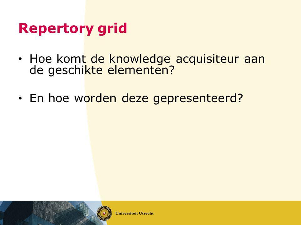 Repertory grid • Hoe komt de knowledge acquisiteur aan de geschikte elementen? • En hoe worden deze gepresenteerd?