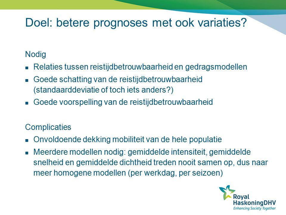 Doel: betere prognoses met ook variaties? Nodig  Relaties tussen reistijdbetrouwbaarheid en gedragsmodellen  Goede schatting van de reistijdbetrouwb