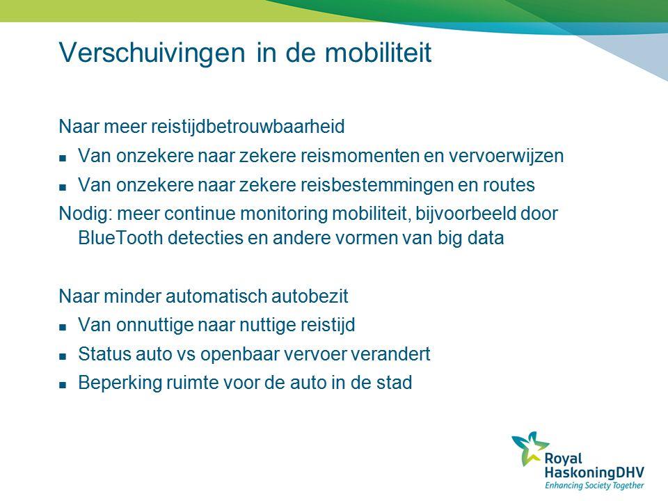 Verschuivingen in de mobiliteit Naar meer reistijdbetrouwbaarheid  Van onzekere naar zekere reismomenten en vervoerwijzen  Van onzekere naar zekere