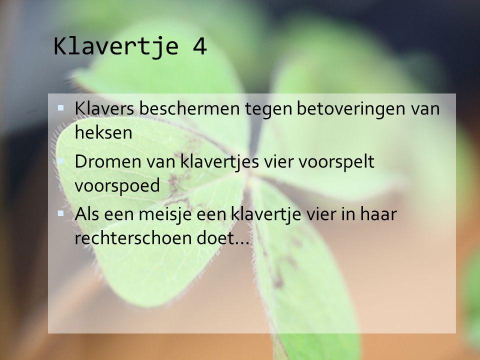 Klavertje 4  Klavers beschermen tegen betoveringen van heksen  Dromen van klavertjes vier voorspelt voorspoed  Als een meisje een klavertje vier in haar rechterschoen doet…