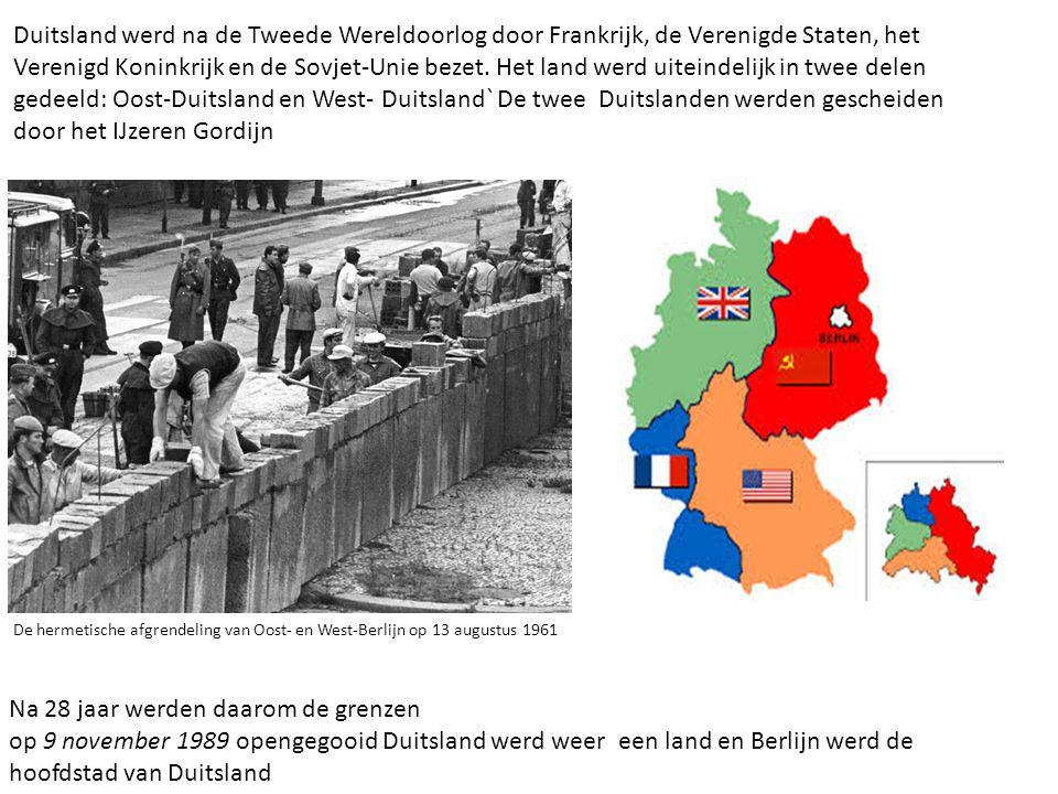 De hermetische afgrendeling van Oost- en West-Berlijn op 13 augustus 1961 Duitsland werd na de Tweede Wereldoorlog door Frankrijk, de Verenigde Staten