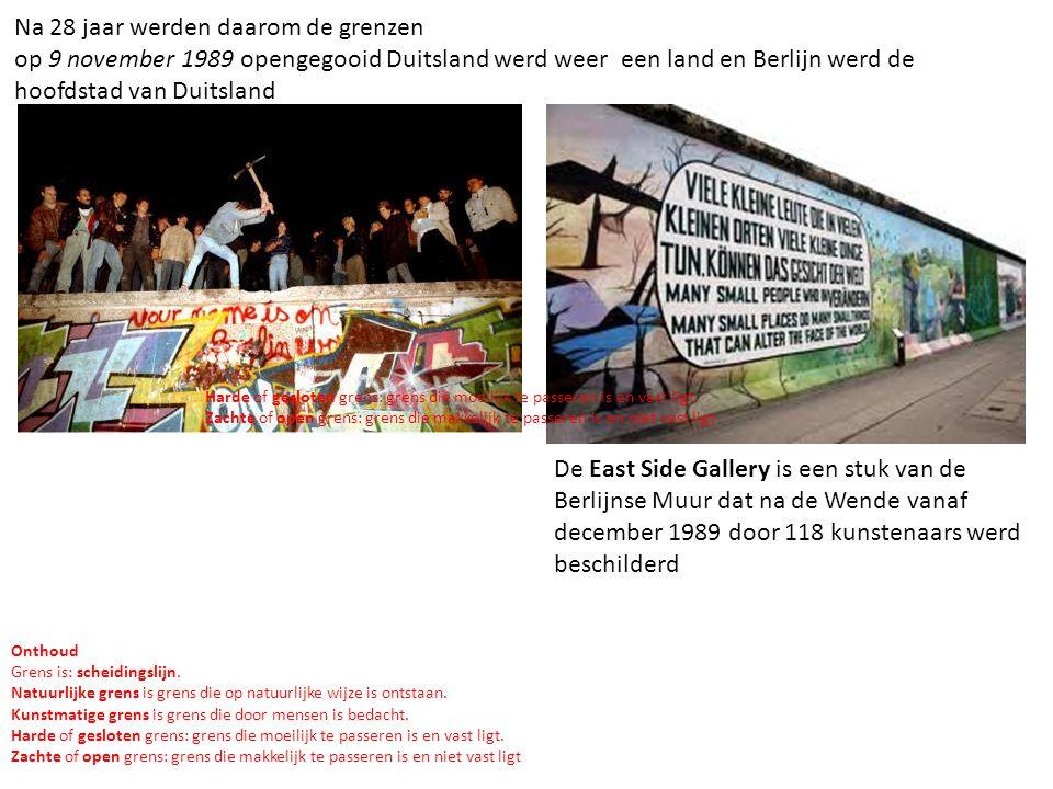 Na 28 jaar werden daarom de grenzen op 9 november 1989 opengegooid Duitsland werd weer een land en Berlijn werd de hoofdstad van Duitsland De East Sid