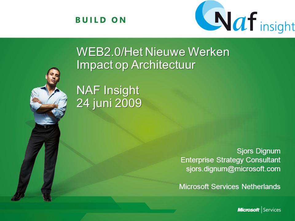 WEB2.0/Het Nieuwe Werken Impact op Architectuur NAF Insight 24 juni 2009 Sjors Dignum Enterprise Strategy Consultant sjors.dignum@microsoft.com Microsoft Services Netherlands