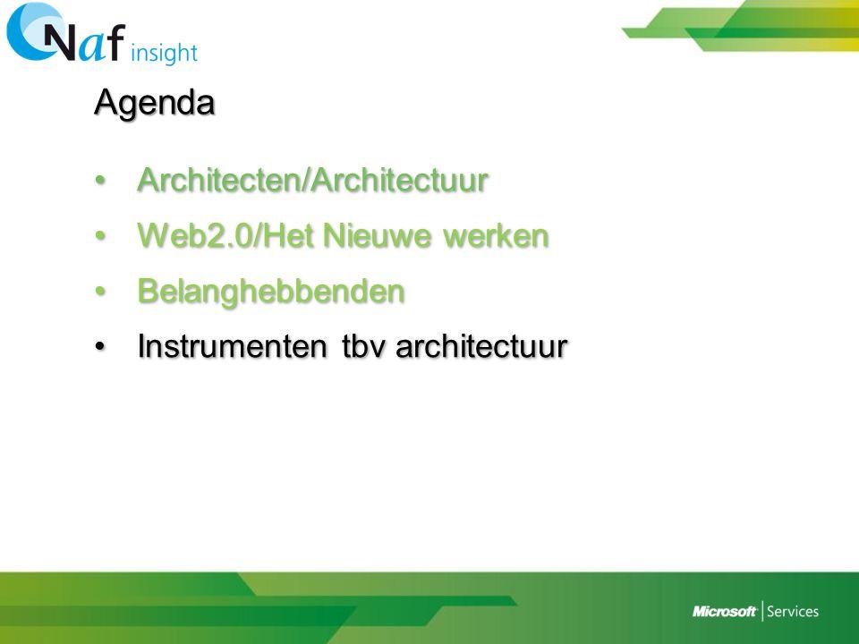 Agenda •Architecten/Architectuur •Web2.0/Het Nieuwe werken •Belanghebbenden •Instrumenten tbv architectuur