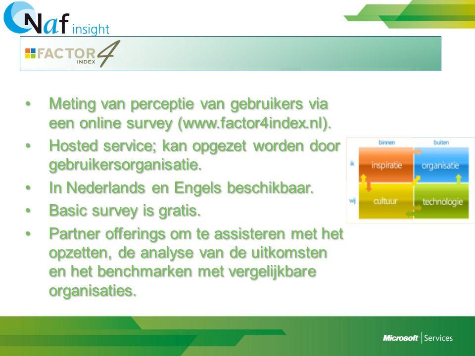 •Meting van perceptie van gebruikers via een online survey (www.factor4index.nl). •Hosted service; kan opgezet worden door gebruikersorganisatie. •In