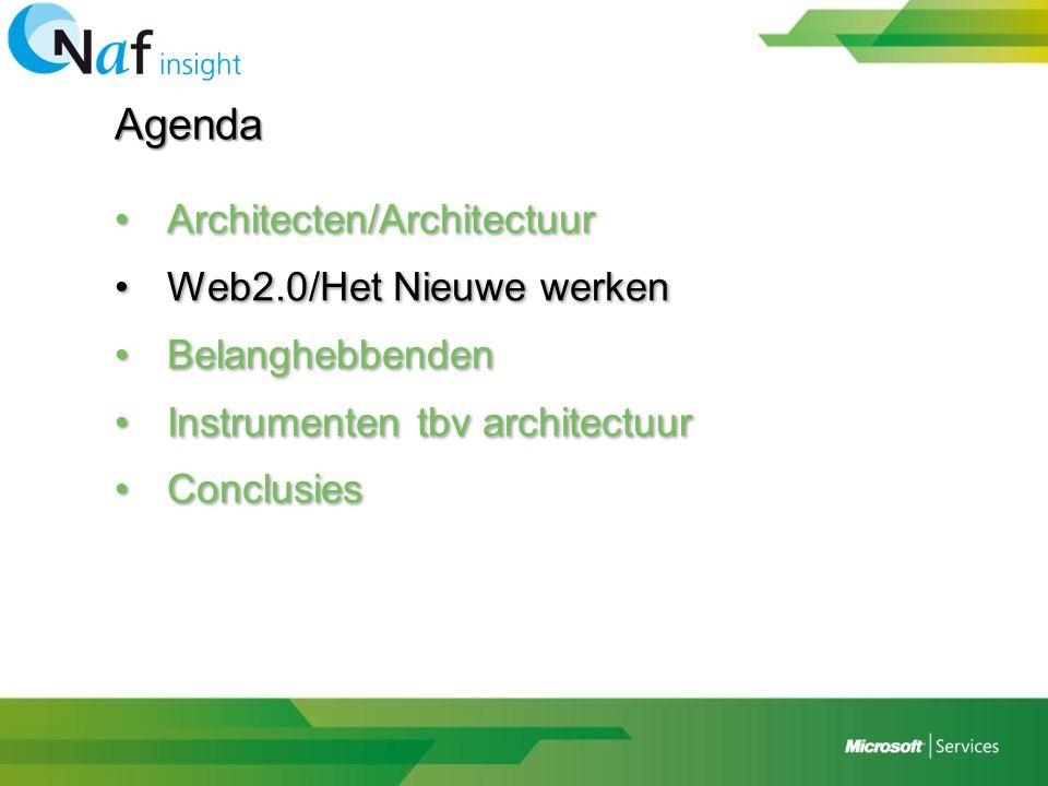 Agenda •Architecten/Architectuur •Web2.0/Het Nieuwe werken •Belanghebbenden •Instrumenten tbv architectuur •Conclusies