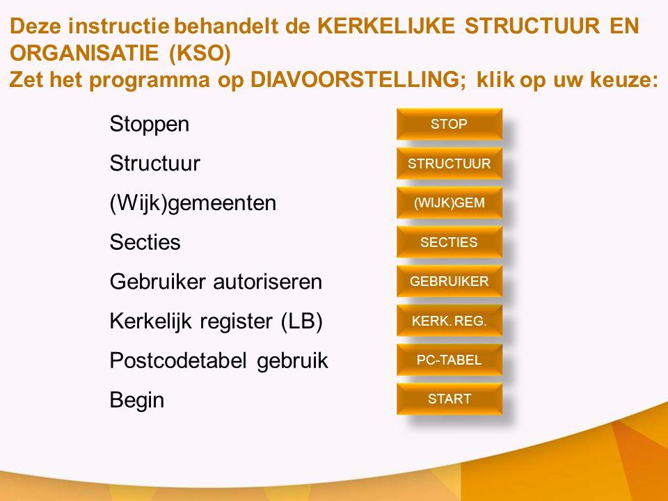 Stoppen Structuur (Wijk)gemeenten Secties Gebruiker autoriseren Kerkelijk register (LB) Postcodetabel gebruik Begin STOP PC-TABEL STRUCTUUR (WIJK)GEM