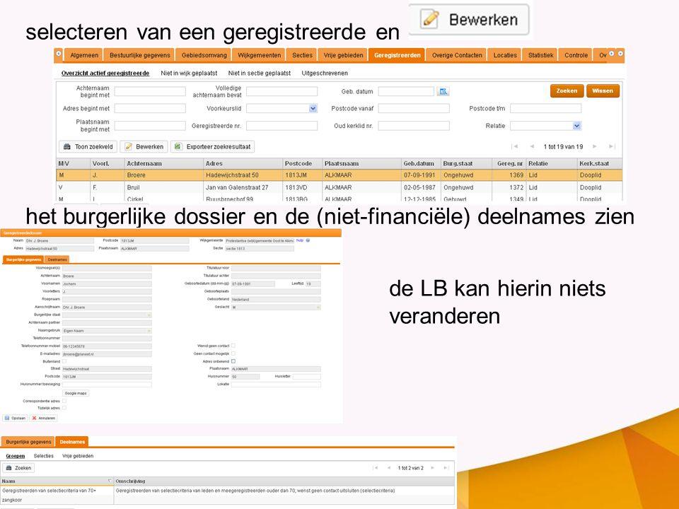 selecteren van een geregistreerde en het burgerlijke dossier en de (niet-financiële) deelnames zien de LB kan hierin niets veranderen