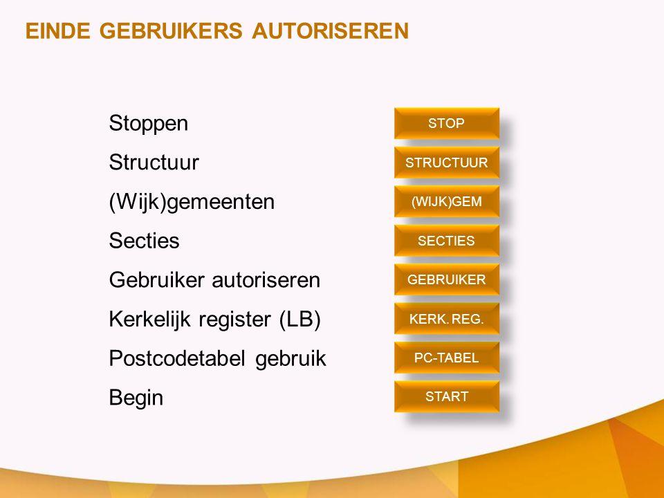 EINDE GEBRUIKERS AUTORISEREN Stoppen Structuur (Wijk)gemeenten Secties Gebruiker autoriseren Kerkelijk register (LB) Postcodetabel gebruik Begin STOP
