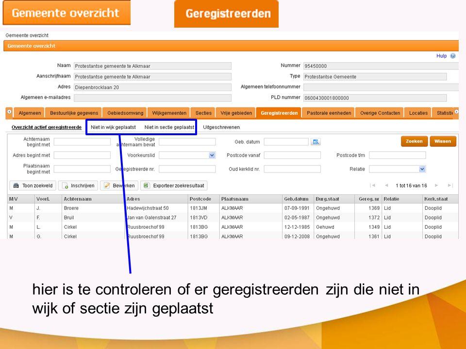 hier is te controleren of er geregistreerden zijn die niet in wijk of sectie zijn geplaatst