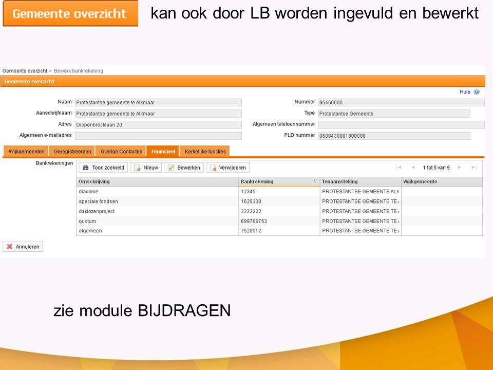 kan ook door LB worden ingevuld en bewerkt zie module BIJDRAGEN