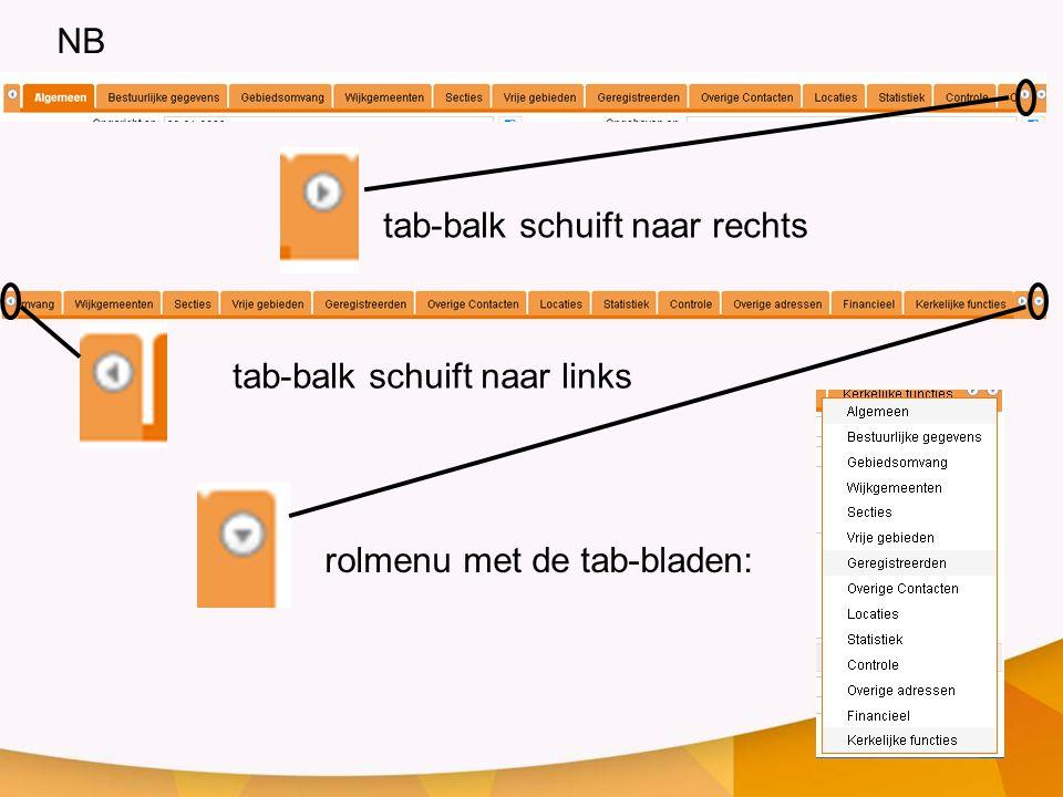 tab-balk schuift naar rechts tab-balk schuift naar links rolmenu met de tab-bladen: NB