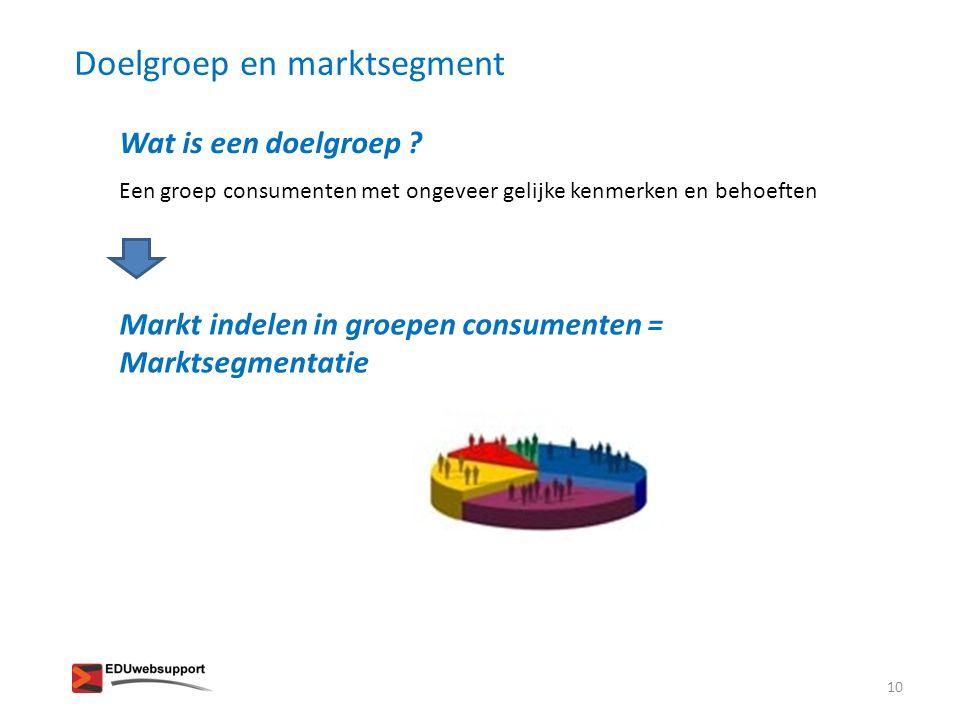 Een groep consumenten met ongeveer gelijke kenmerken en behoeften Wat is een doelgroep ? Markt indelen in groepen consumenten = Marktsegmentatie Doelg