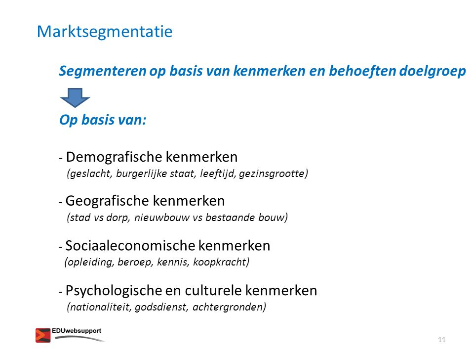 Segmenteren op basis van kenmerken en behoeften doelgroep Op basis van: - Demografische kenmerken (geslacht, burgerlijke staat, leeftijd, gezinsgroott