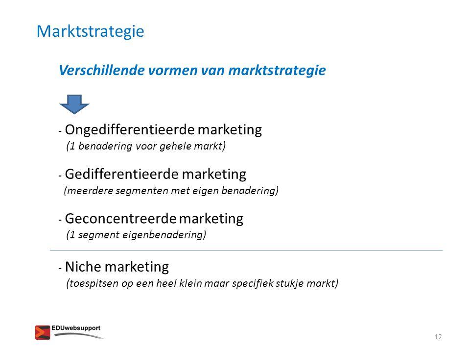 Verschillende vormen van marktstrategie - Ongedifferentieerde marketing (1 benadering voor gehele markt) - Gedifferentieerde marketing (meerdere segme