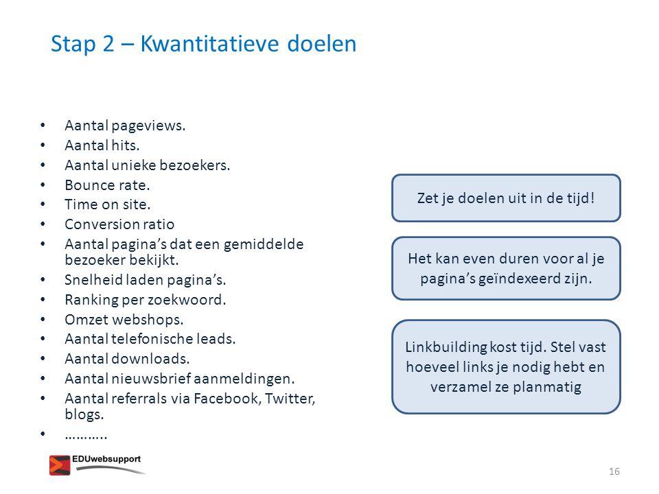 Stap 2 – Kwantitatieve doelen – aan de slag.